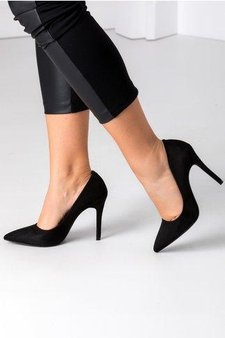 Pantofi negri stiletto din piele intoarsa ecologica