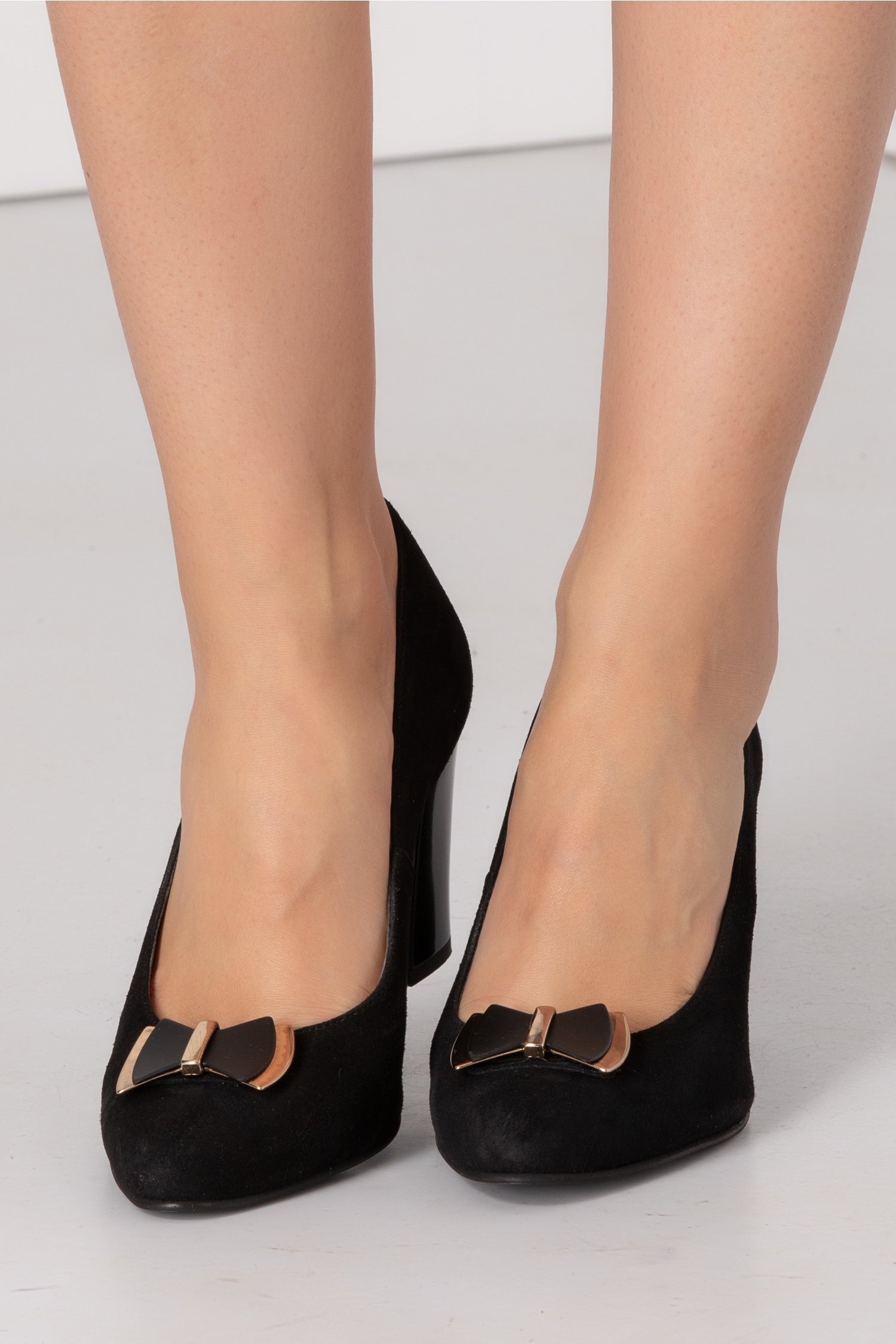 Pantofi Nella negri cu funda in fata