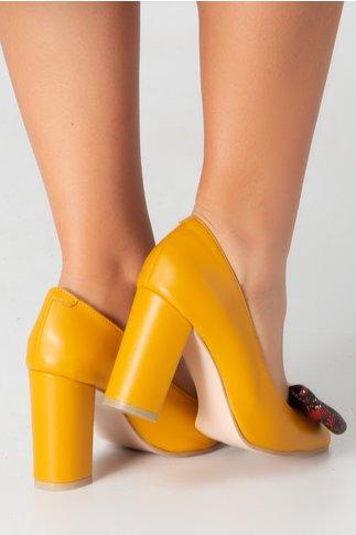 Pantofi Nelly galben mustar cu funda in fata