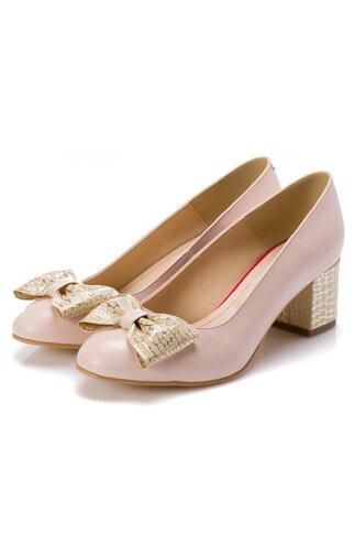 Pantofi nude cu fundita maxi in fata