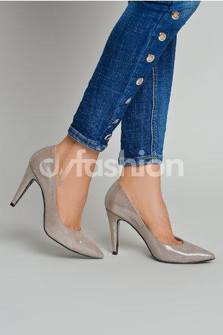 Pantofi Nude cu Varf si Toc Ascutite
