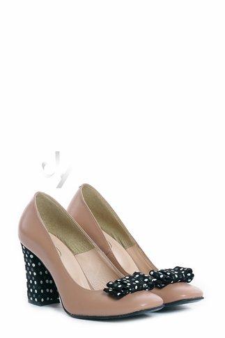 Pantofi Nude Eleganti cu Fundita si Toc cu Buline