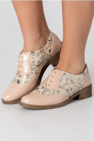 Pantofi nude lacuiti cu imprimeu floral gri