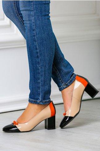 Pantofi office dama negru nude cu fundita