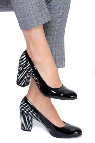 Pantofi office din piele lac neagra si buline