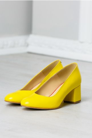 Pantofi office galbeni toc jos din piele naturala
