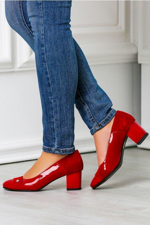Pantofi office rosii eleganti toc jos