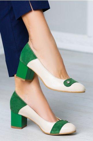 Pantofi office verde nude eleganti cu toc jos