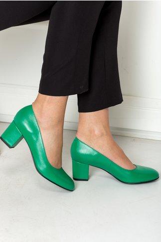 Pantofi office verzi toc jos din piele naturala