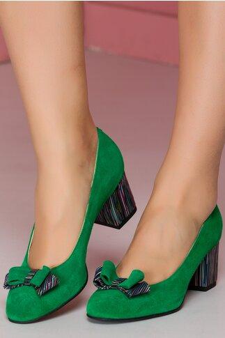 Pantofi Osir verzi cu toc multicolor si funda