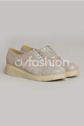 Pantofi Oxford Argintii Casual cu Sireturi si Talpa Joasa
