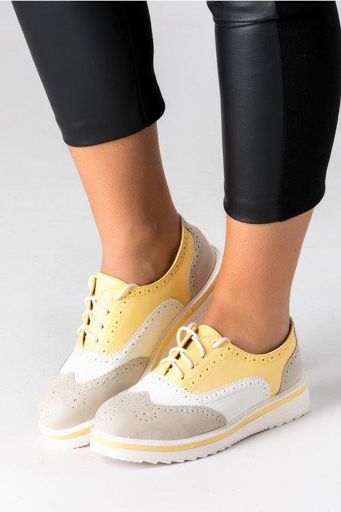 Pantofi Oxford bej cu alb si galben