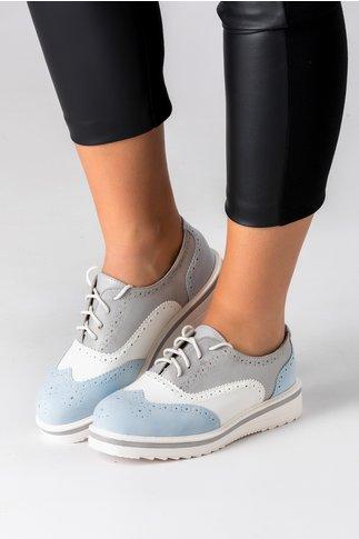 Pantofi Oxford bleu cu alb si gri