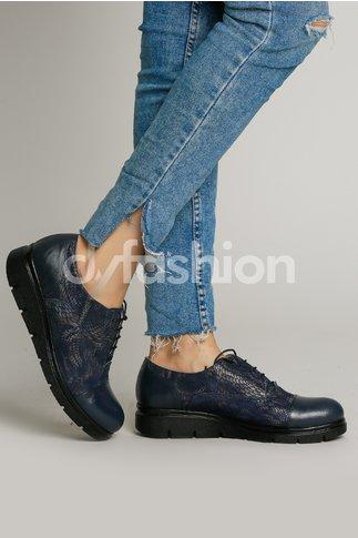 Pantofi Oxford Bleumarin cu Design Animal Print si Talpa Joasa
