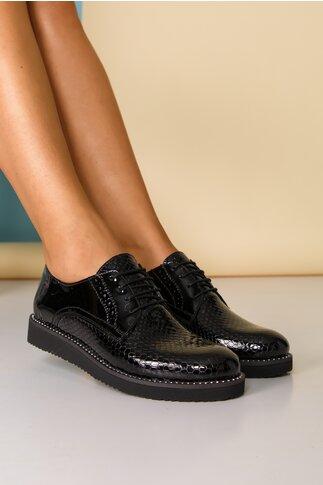 Pantofi Oxford negri cu strasuri pe talpa si inchidere cu sireturi
