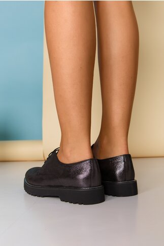 Pantofi Oxford negri sidefat cu sireturi