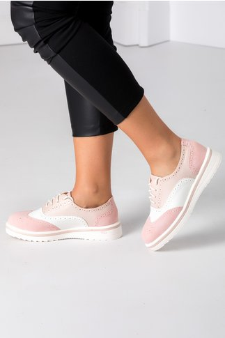 Pantofi Oxford roz cu alb
