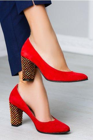 Pantofi Redo rosii cu toc galben office elegant