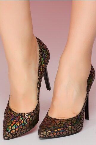 Pantofi Risse negri din piele intoarsa cu insertii aurii