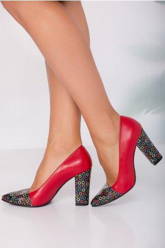 Pantofi Roda rosii cu imprimeuri multicolore