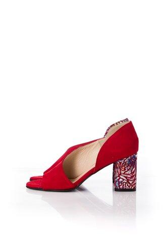 Pantofi rosii cu decupaj in fata si lateral si imprimeu pe toc