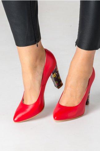 Pantofi rosii cu imprimeu floral pe toc