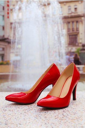 Pantofi rosii eleganti stiletto cu aspect lacuit