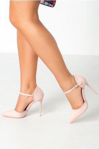 Pantofi roz pal cu perlute metalizate