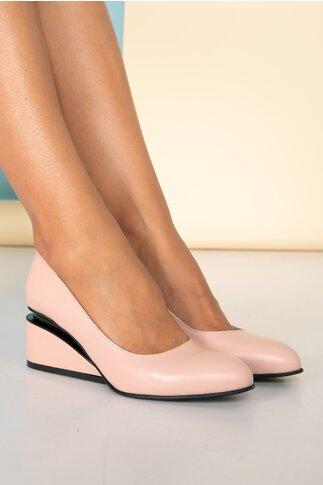 Pantofi roz pal cu toc futurist din piele naturala