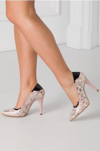 Pantofi roz prafuit cu detalii  argintii si insertii negre