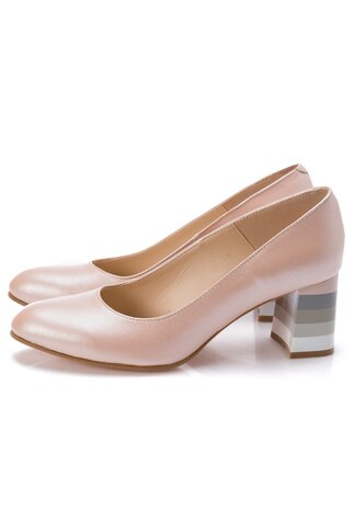 Pantofi roz sidefati cu dungi pe toc