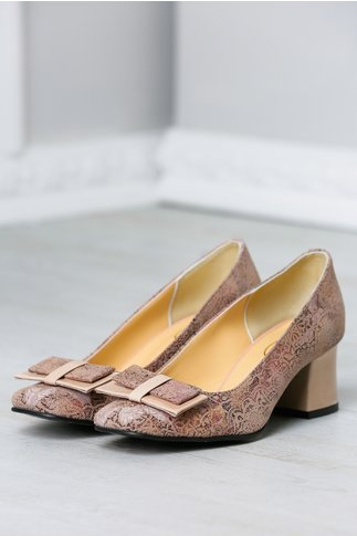 Pantofi Rozalia cu imprimeuri bej rozaliu