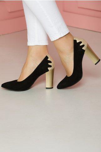 Pantofi Sandra negri cu toc auriu stralucitor