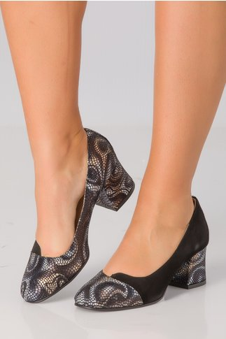 Pantofi Simina negri cu imprimeu degrade