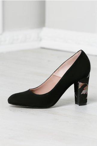 Pantofi Sofia negri cu imprimeu floral pe toc