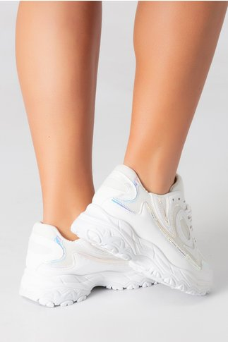 Pantofi sport albi cu detalii reflectorizante