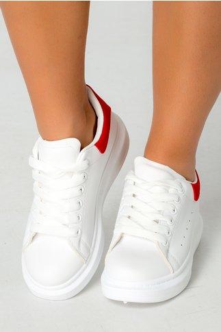 Pantofi sport albi cu detalii rosii