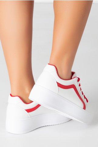Pantofi sport albi cu dunga si sireturi rosii