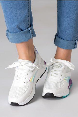 Pantofi sport albi cu insertie din plasa si detalii reflectorizante mov