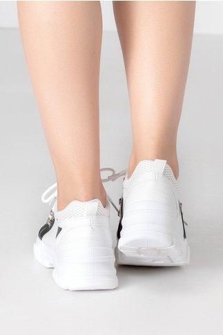 Pantofi sport albi cu insertii negre