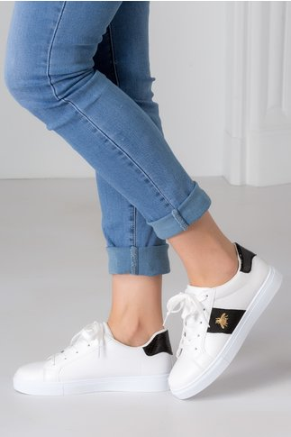 Pantofi sport Alexe albi cu insertii negre