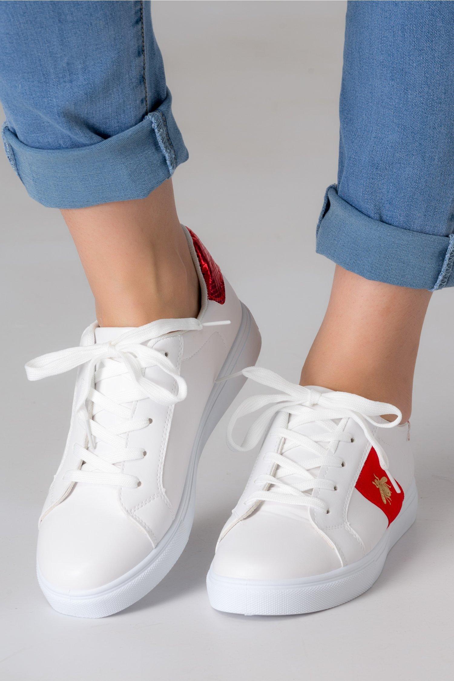 Pantofi sport Alexe albi cu insertii rosii