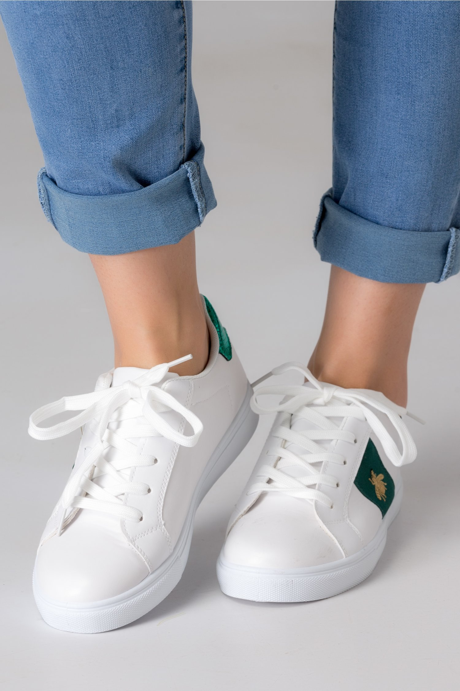 Pantofi sport Alexe albi cu insertii verzi