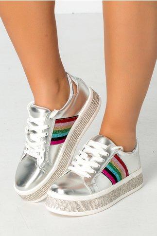 Pantofi sport argintii cu strasuri si insertii colorate