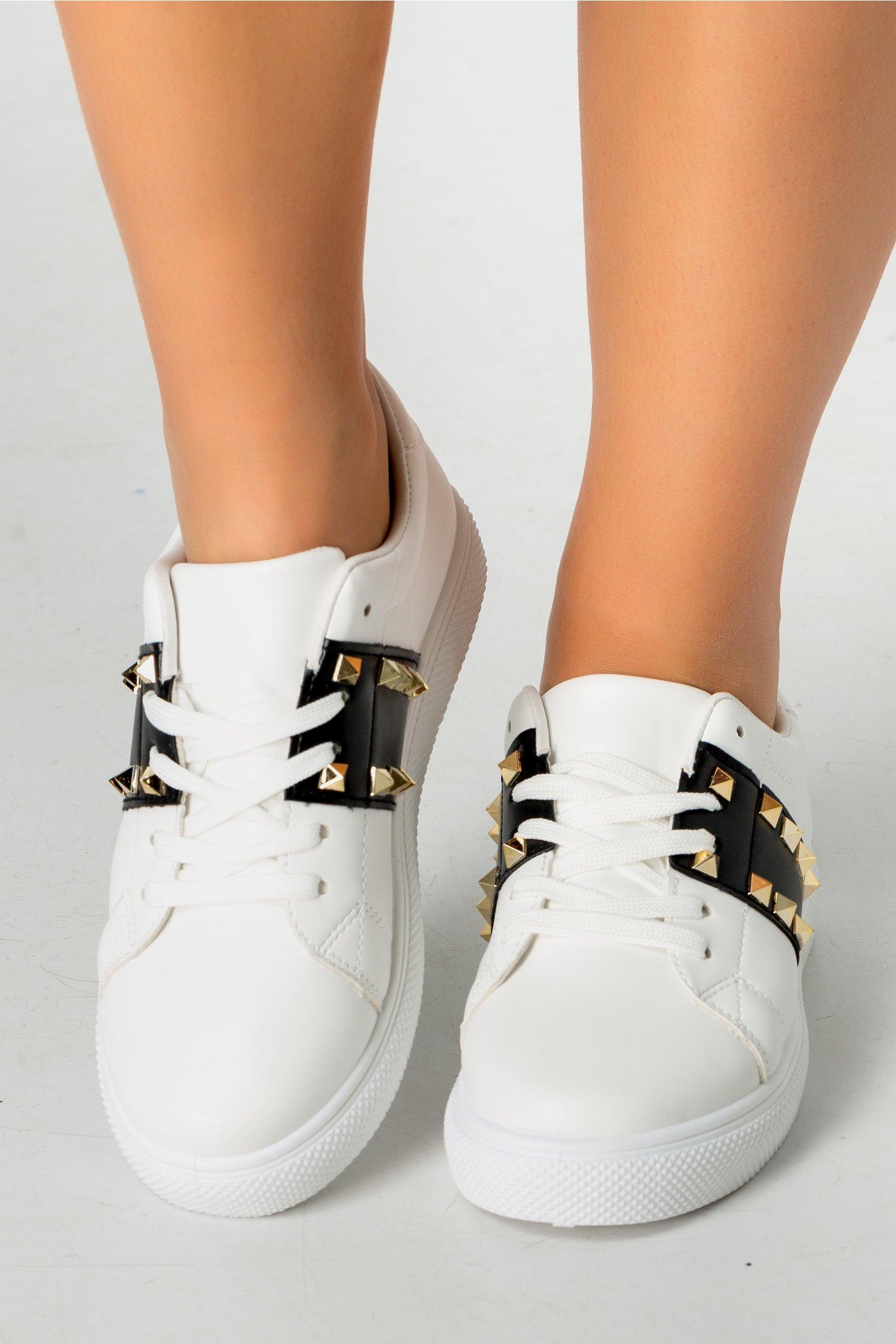 Pantofi sport Hond alb cu negru si tinte
