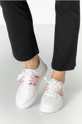 Pantofi sport Hond albi si roz cu tinte