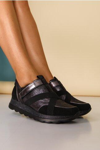 Pantofi sport negri cu benzi elastice decorative si sclipici pe talpa