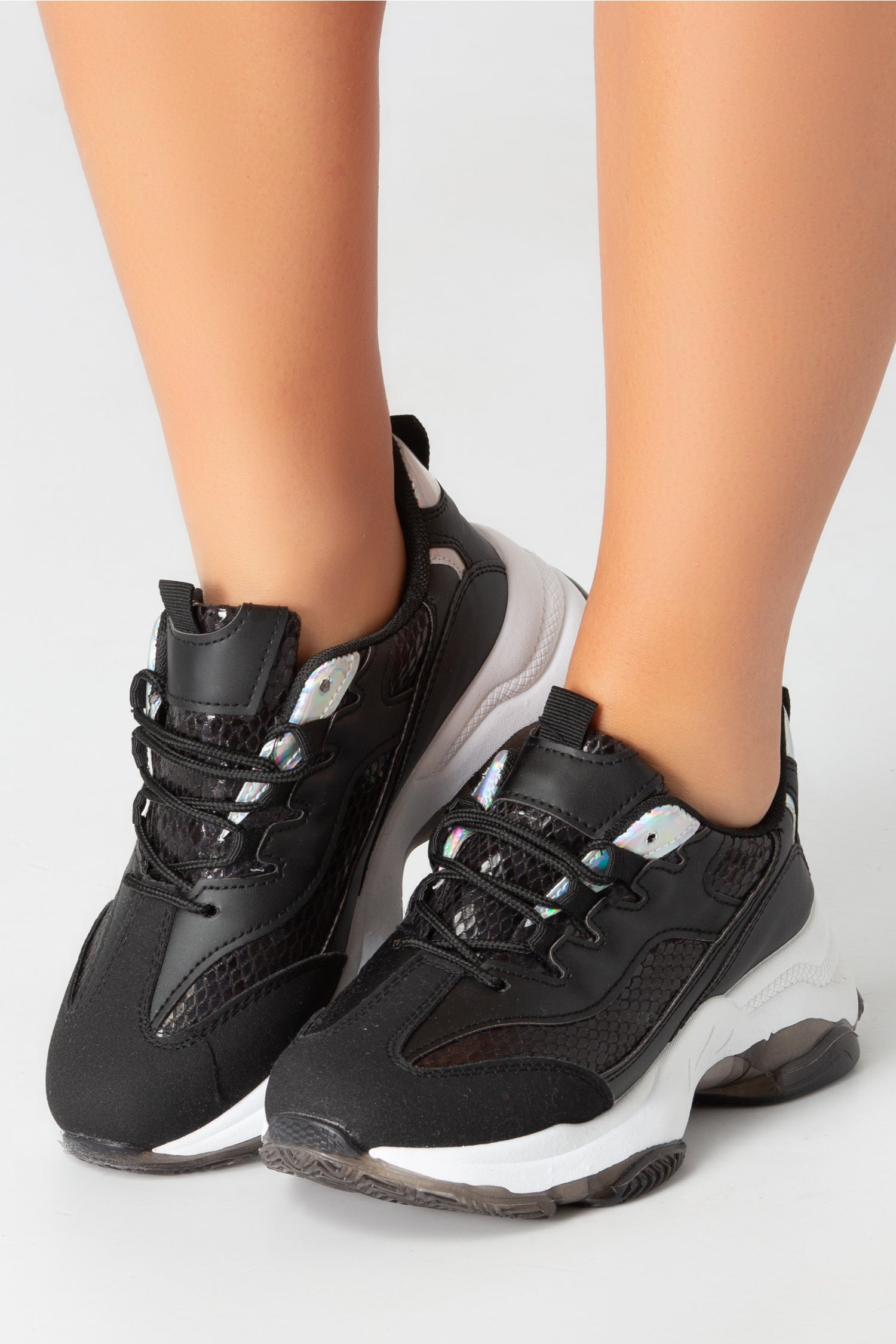 Pantofi sport negri cu detalii reflctorizante