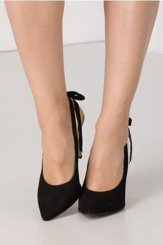Pantofi stileto negri din piele intoarsa cu insertii aurii si funda la spate