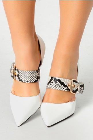 Pantofi stiletto albi cu print piele de sarpe